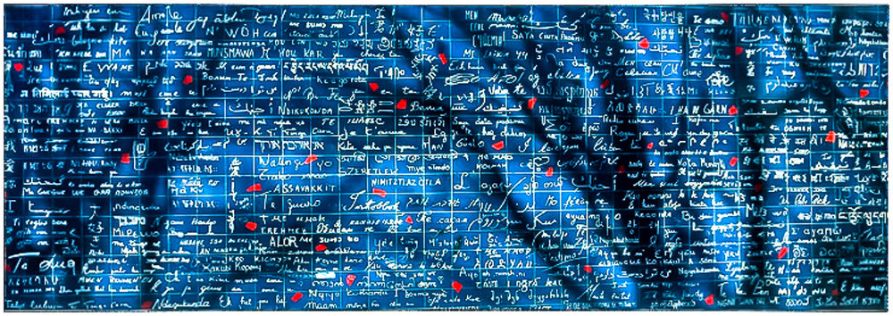 """Le Mur des Je T'Aime - 'The Wall Of """"I Love You""""' at Montmartre, Paris. 280 different written languages saying I love you."""