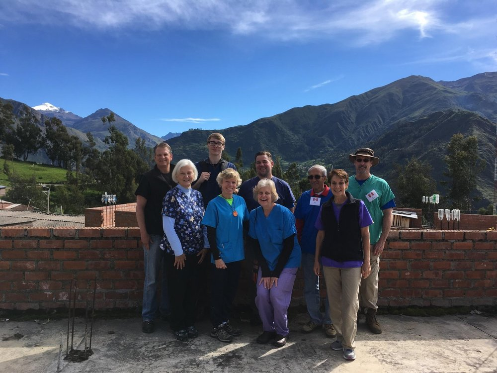 The team of volunteers from North Carolina, during Health Care program in Peru.
