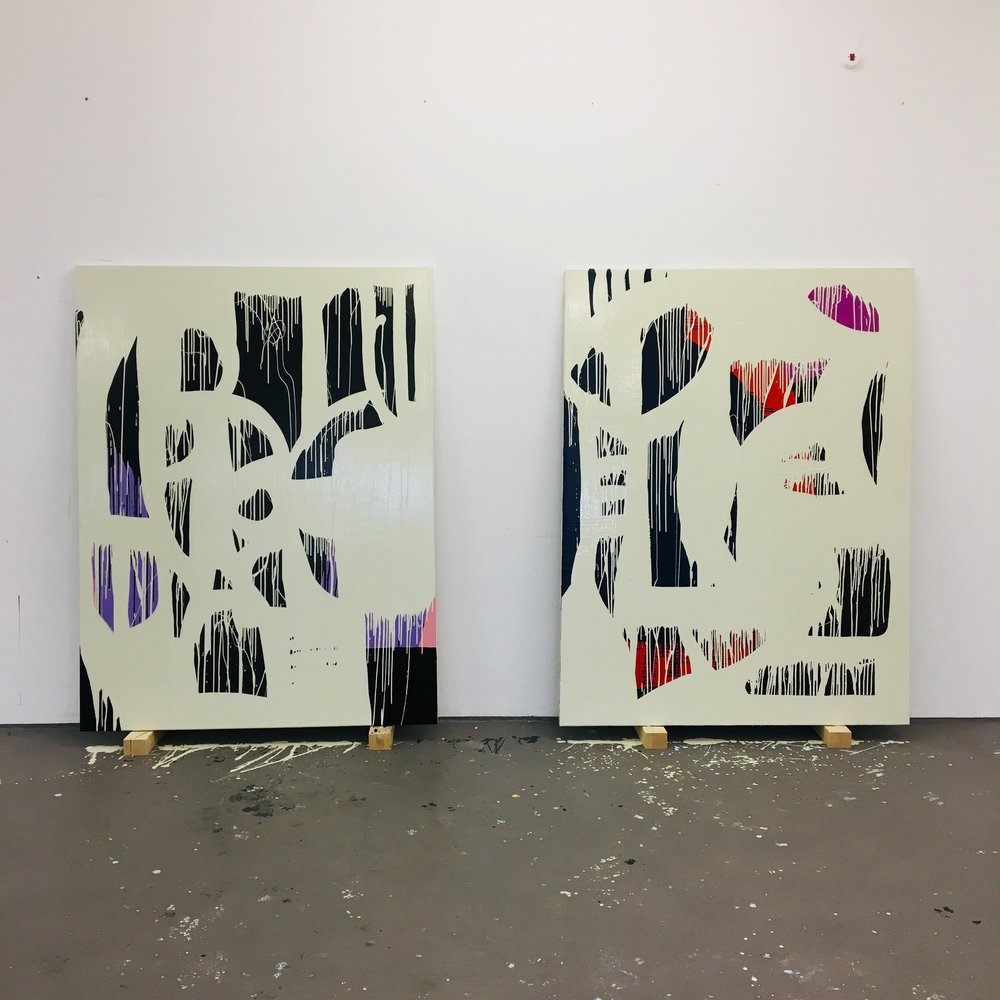 MID CASE BEIGE  2018 // each 170cm x 130cm  acrylic and varnish on canvas