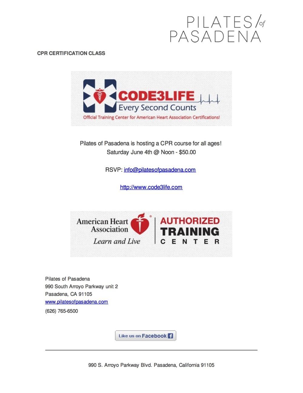 Cpr Training Coming Pilates Of Pasadena