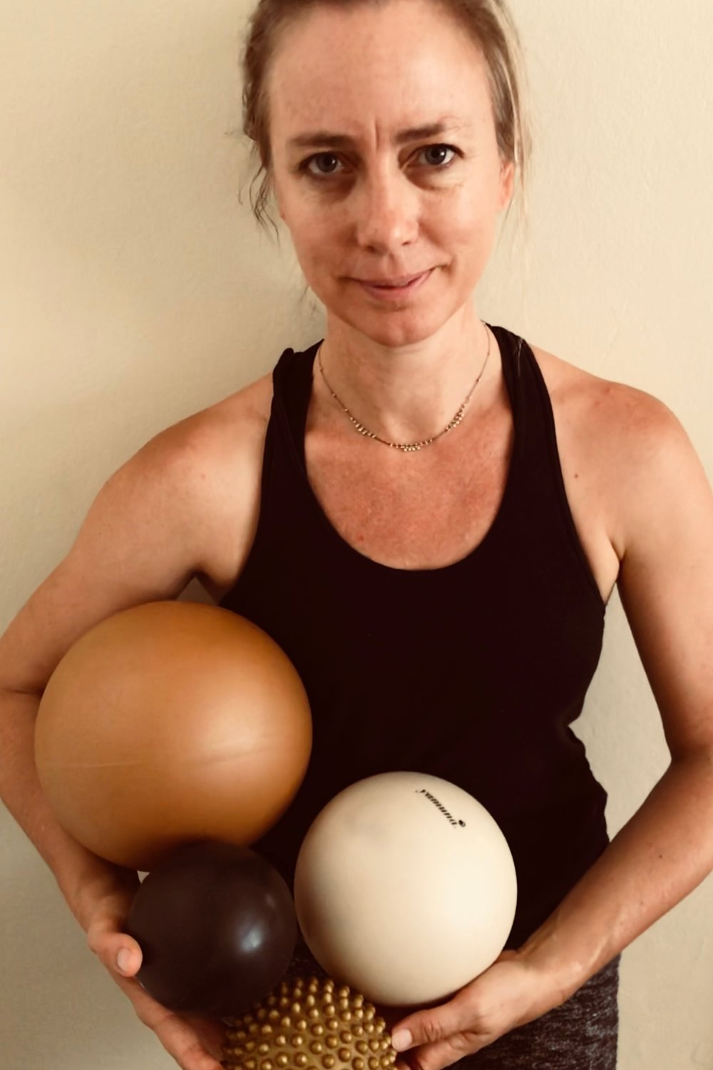 The balls - apply traction that frees up connective tissue, reeducates muscles, stimulates bones, and leads to fully releasing negative holding patterns in the body.