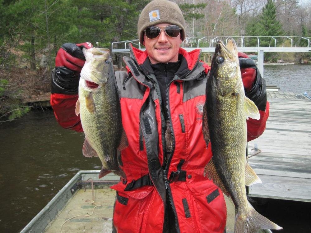 Walleye and largemouth bass caught together in a DNR spring walleye survey. Photo credit Tom Cichosz.