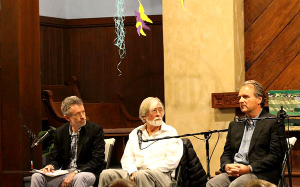 Hugh Wilford, Robert Scheer, Robert Baer (photos by Erick Almalina)