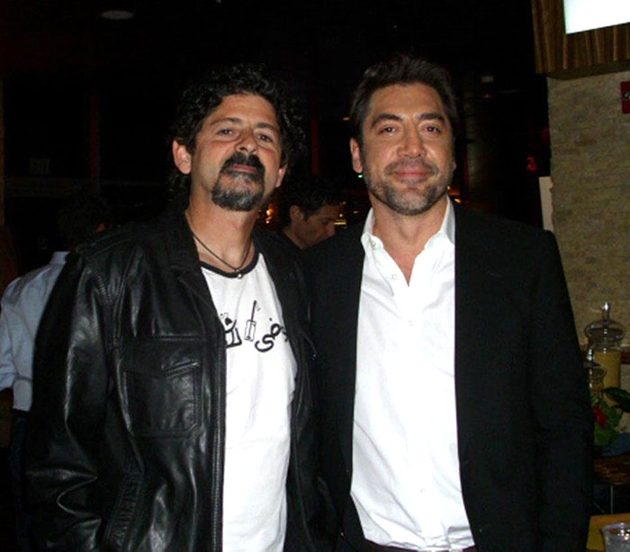 Jordan Elgrably with actor Javier Bardem.