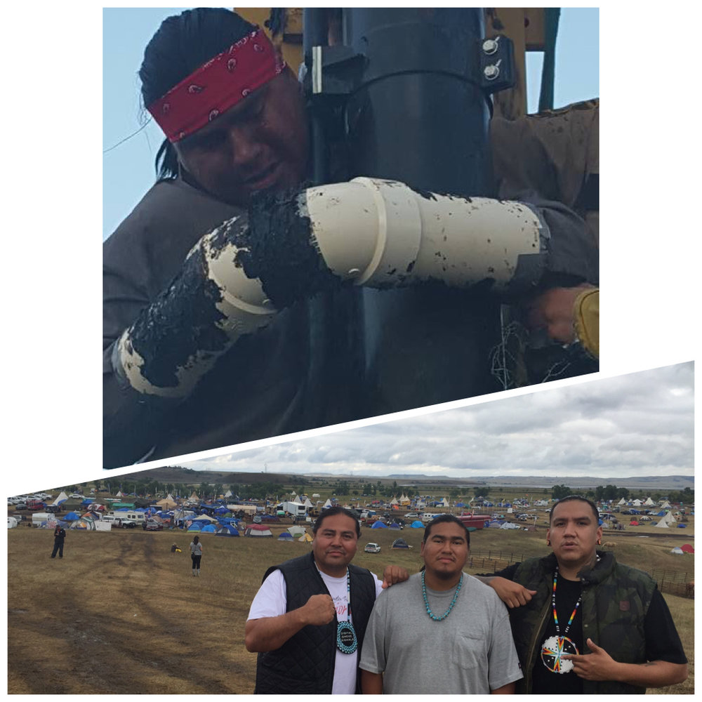 Day 2 at Standing Rock   3:10 PM Met the brother Happy American Horse (Middle) yesterday at main camp. This man sacrificed himself for the cause and managed to get the word out further than imagined. He was arrested and freed a few days later and promptly returned to camp. Legend. Also pictured is Myron Dewey from Digital Smoke Signals, he has been responsible for a large portion of the social media TRUTHS that have been coming out of the camp. My ride has also left back to Alaska today, I'm officially orphaned out. Camp time. #NoDapl