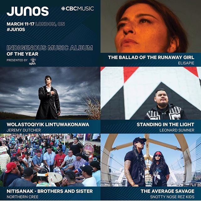 Whoa!!! Congrats to all these powerful peoples. My neechis @snottynoserezkids continue to push relentlessly and are just getting started!! Major congrats to the fam @jdutchermusic @officialnortherncree @leonardsumner & @elisapie #IndigenousExcellence #Skoden #Junos