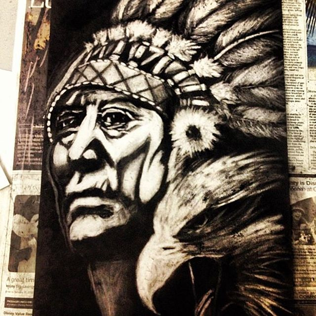 """""""Old man Eagle"""" I was given that name as a child by an Anishinaabe elder and I don't think I understood or identified with that name yet when I made this piece. I think it was 2011 and I was knee deep in the game but I knew I was capable of better so I went back to get my hs diploma. In class we made these pieces by covering the whole paper with a piece of charcoal and then """"erasing the image out"""" with an eraser. Looking back I knew it was my true self speaking through my creative spirit. Bless⚡️🦅⚡️"""