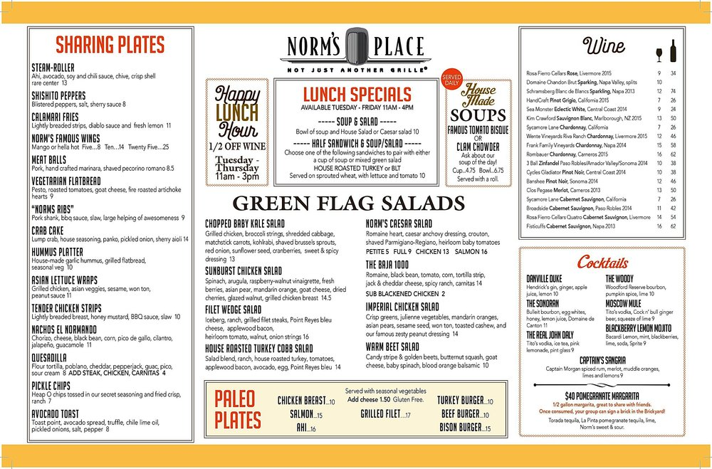 Norm's Place Danville CA Bar and Restaurant Menu