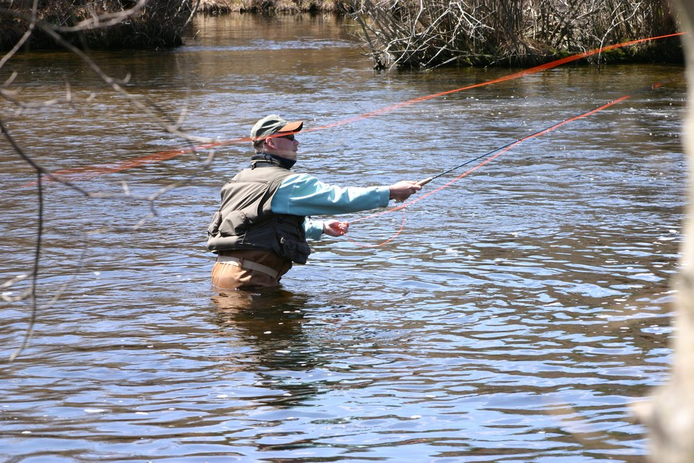 CRC resident fly-fishing in the Catawba River.