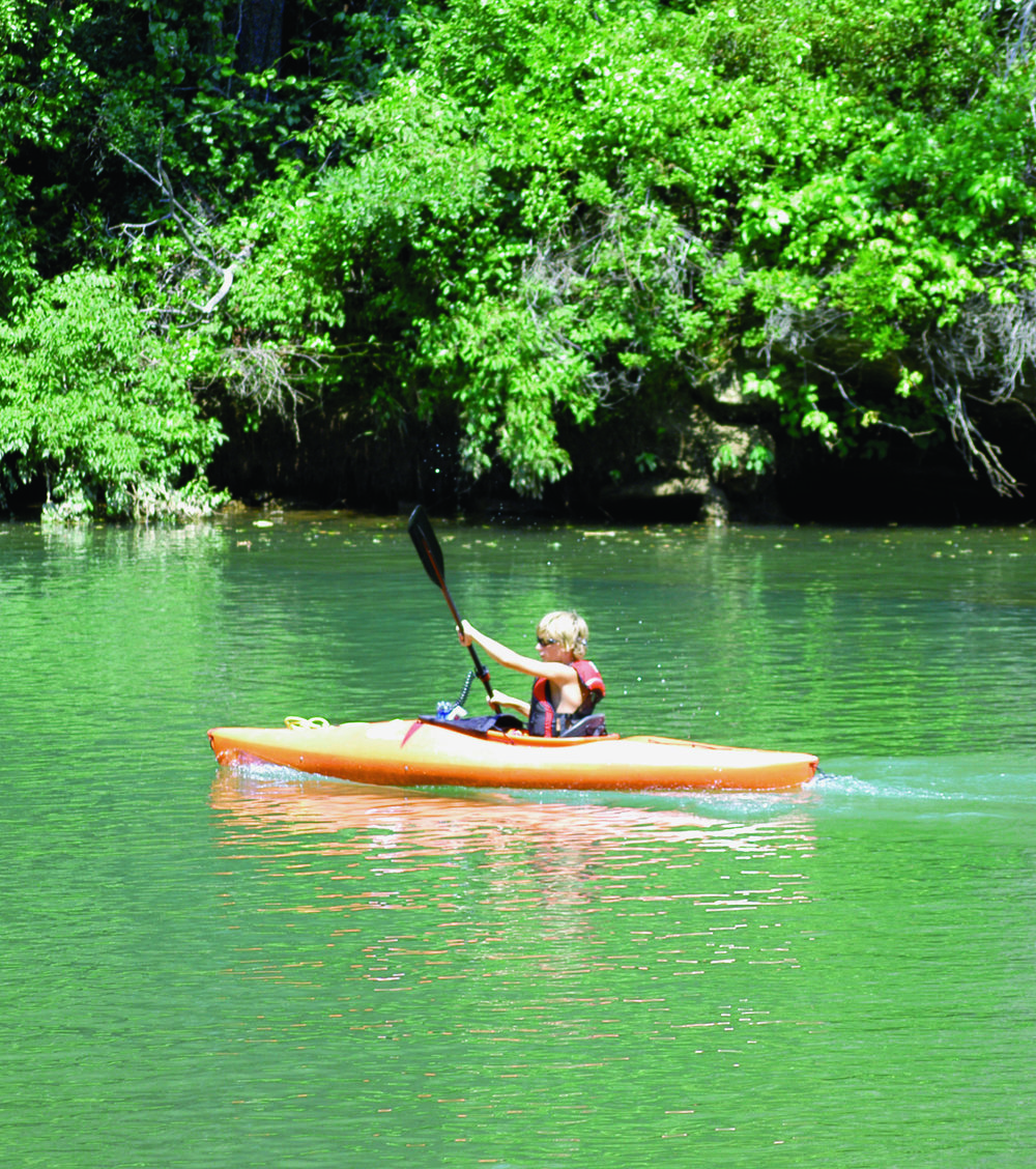 CRC resident kayaking on the Catawba River.