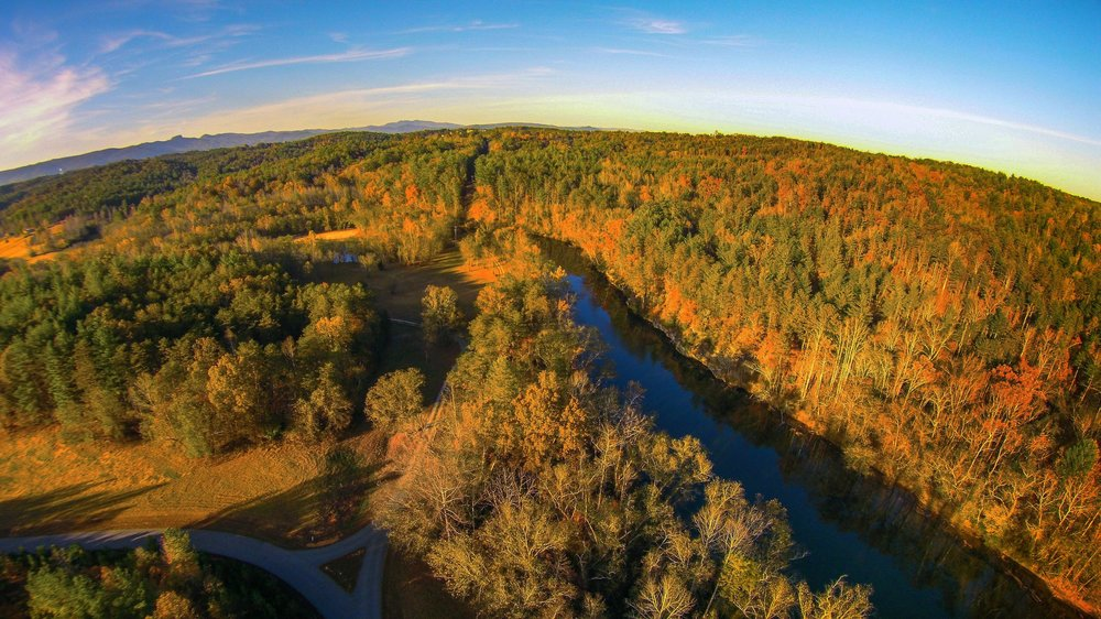 Aerial view of the bend in the Catawba River around CRC.