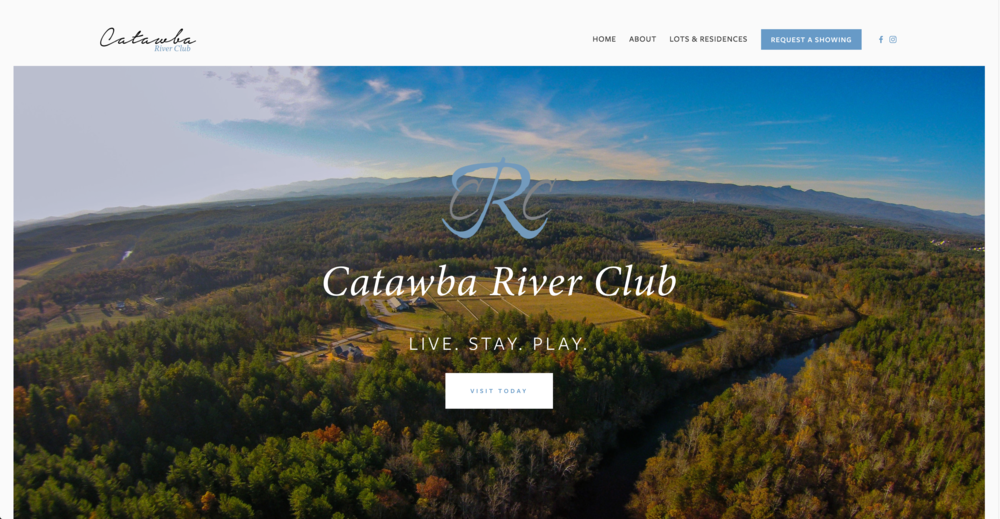 Screenshot of the new Catawba River Club website home page