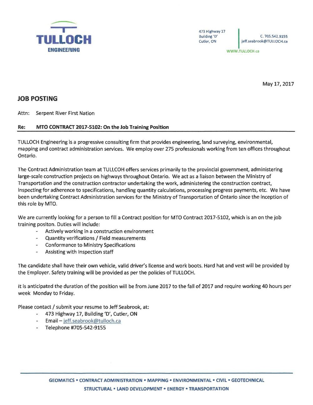 JOB POSTING MTO TRAINING