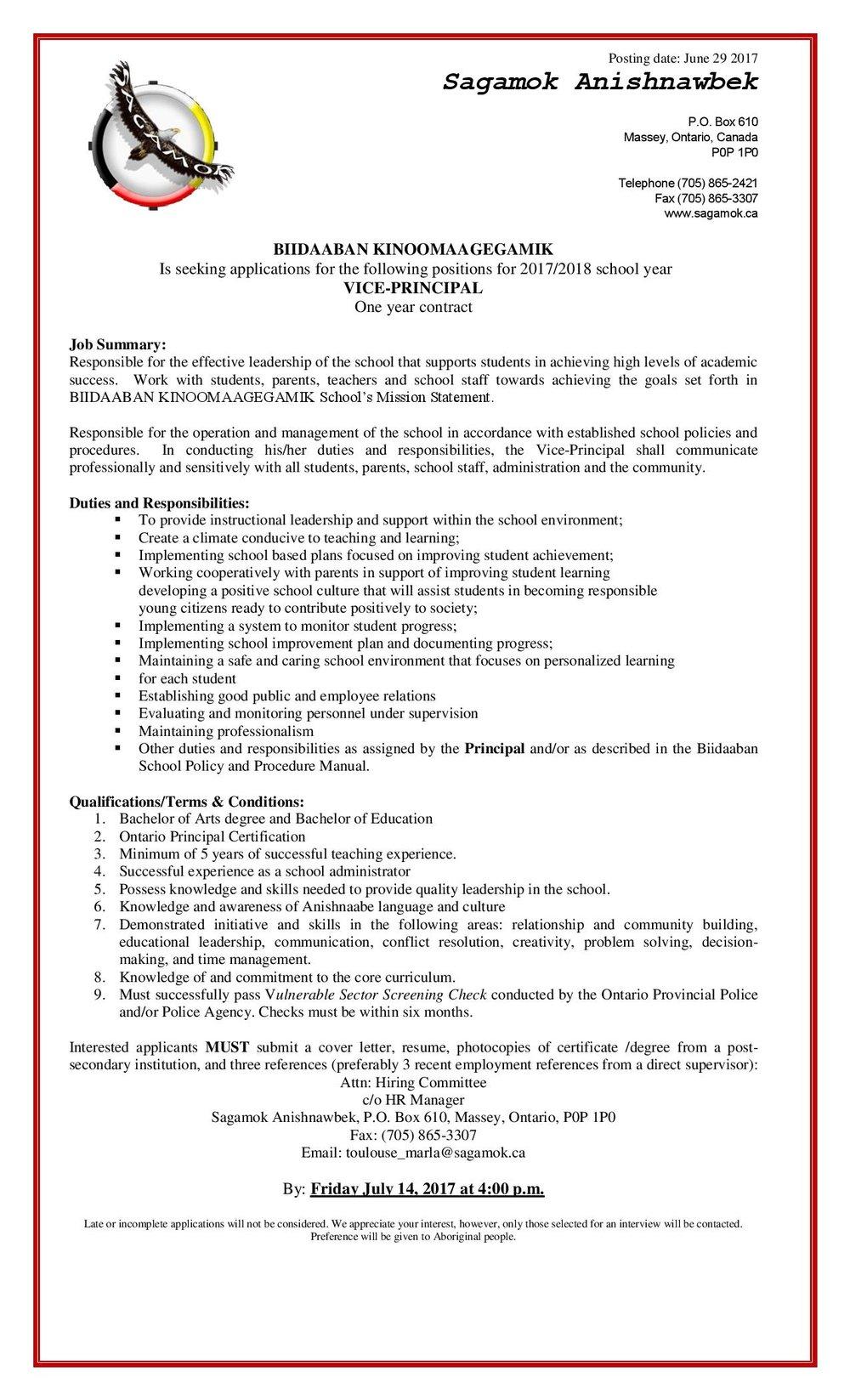 Vice Principal Job Posting