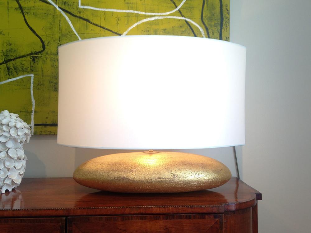 Gilded Ceramic Football Lamp