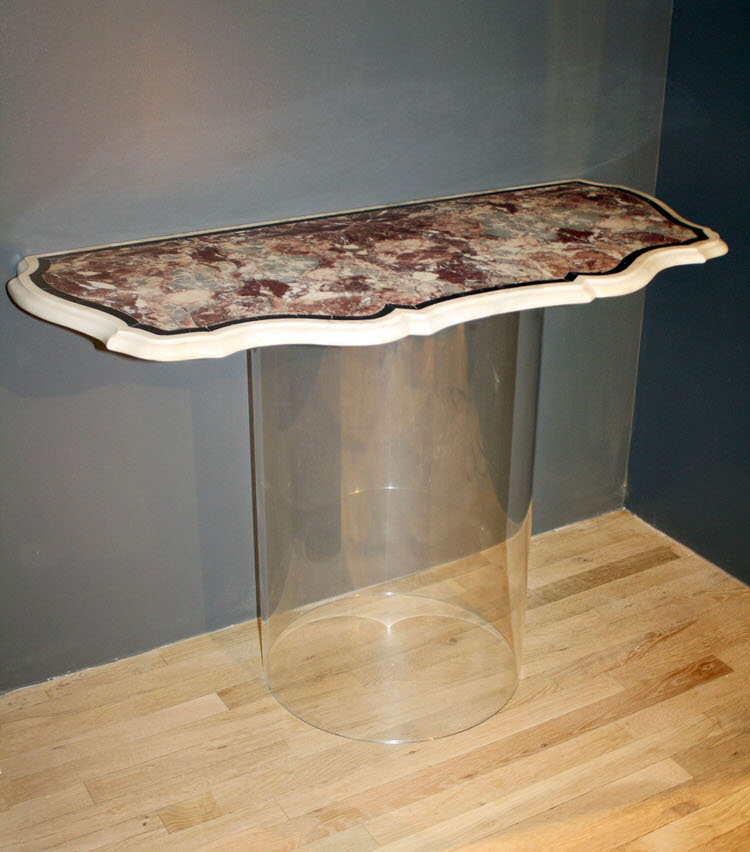 marble and acrylic console table