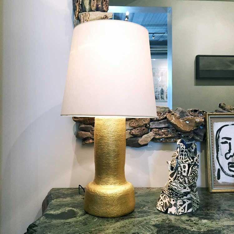 Gilded Ceramic Candlestick Lamp