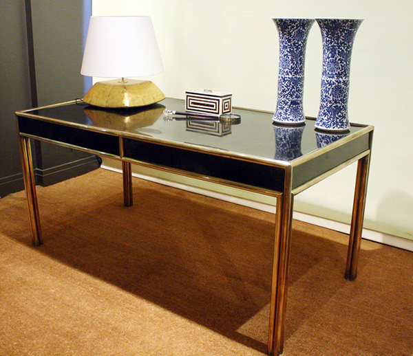 BRASS MOUNTED BLACK FORMICA WRITING TABLE