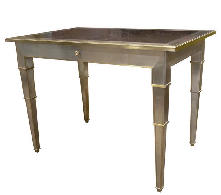 BRASS AND STEEL WRITING TABLE
