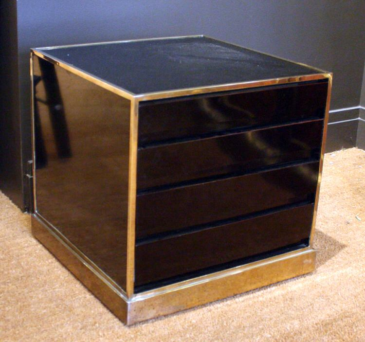 BRASS MOUNTED BLACK FORMICA CABINET