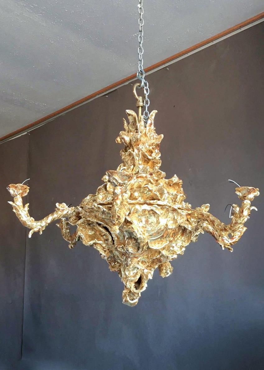 Gilded ceramic chandelier by eve kaplan gerald bland gilded ceramic chandelier arubaitofo Choice Image