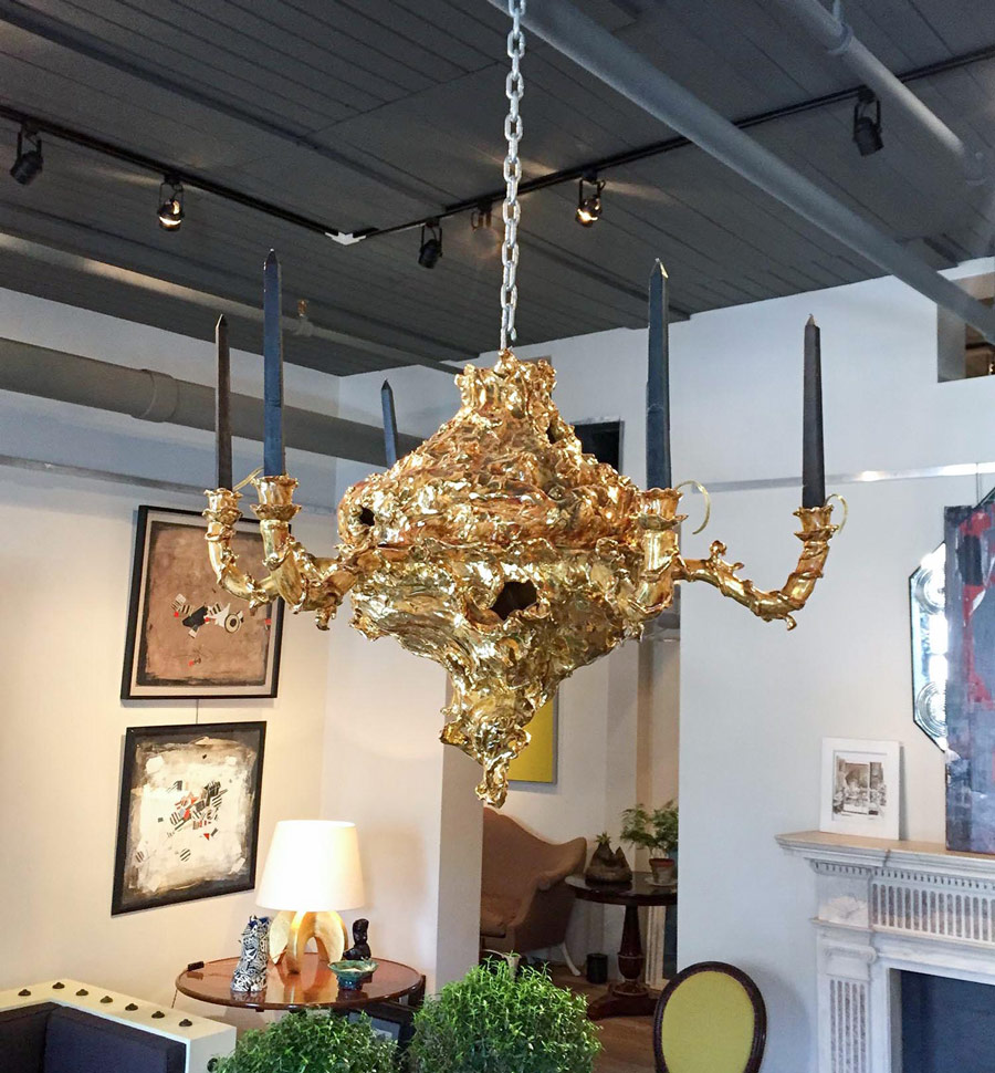 Gilded ceramic chandelier by eve kaplan gerald bland gilded ceramic chandelier by eve kaplan arubaitofo Choice Image