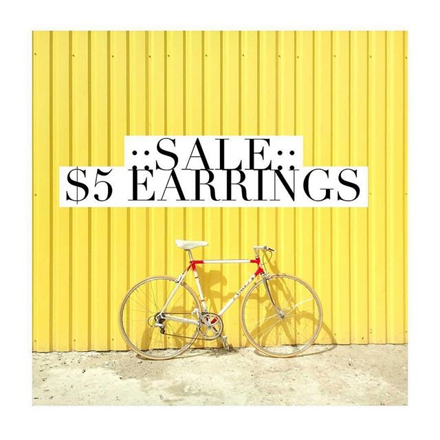 "MORE EARRINGS ADDED TO THE $5 SALE! . . ""Ride"" on over to the website to snag you some $5 earrings! •new earrings have been added!• no code needed, just find the tab that says ""$5 earrings!"" #sale"