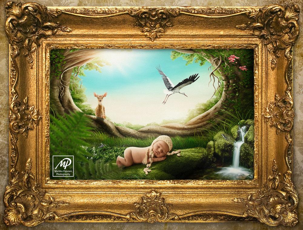 Vastasyntyneen vauvakuvaus toteutettu fantasiamaailmaan.