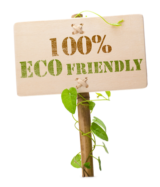 100% eco friendly green sign