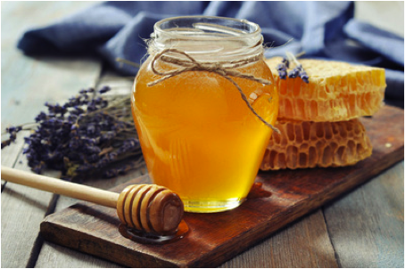 Jar of honey, beeswax and lavendar
