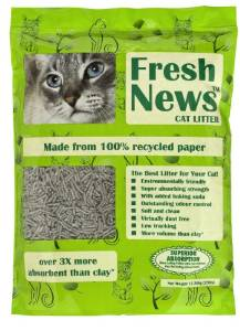 Sustainable kitty litter from Fresh News, made from recycled paper