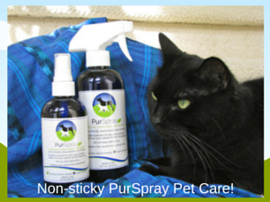 PurSpray Pet Care for a non-sticky skin, eye and ear treatment.