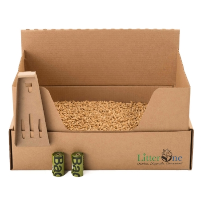 Sustainable kitty litter kit, 100% recyclable Litter One Kit.