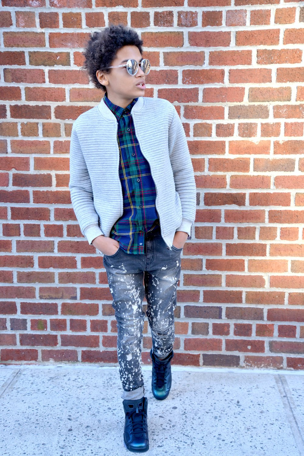 JACKET + DENIM: Zara   SHIRT: Gap Kids   SNEAKERS: Kids Foot Locker