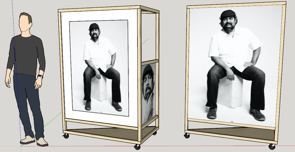 "Preliminary renderings of the frames from Architecture, featuring a matted ""hero"" image and a secondary image nested in the side of the triangular frame."