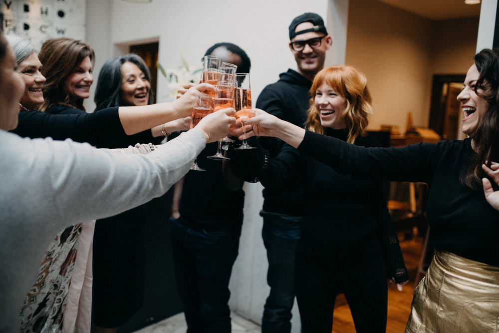 Cheers-ing with the brains behind Big Heart Tea Co. - Donna Govro, Laura Burkemper, Kunthearath Nhek-Morrissey, Baba Jideo, Jason Bockman, Chelsie Helligie, Lisa Govro