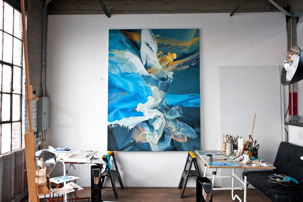 Working on Blue Rapture, 6'x8', in a studio I had recently at the Shirt Factory, Kingston, N.Y. Great space to create!