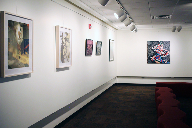 Two works on the left at the William Whipple Gallery, SMSU, MN