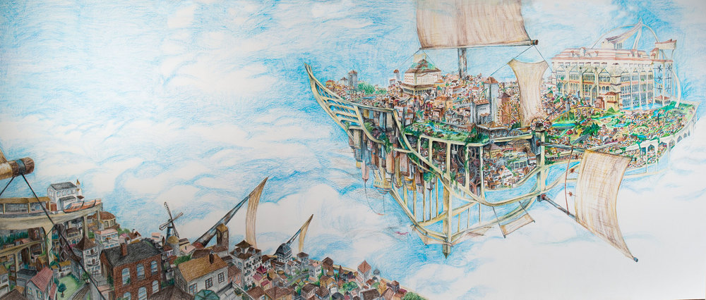 Flying Cities Prismacolor Artstix on Primed Wall. 9'x14' August 2015