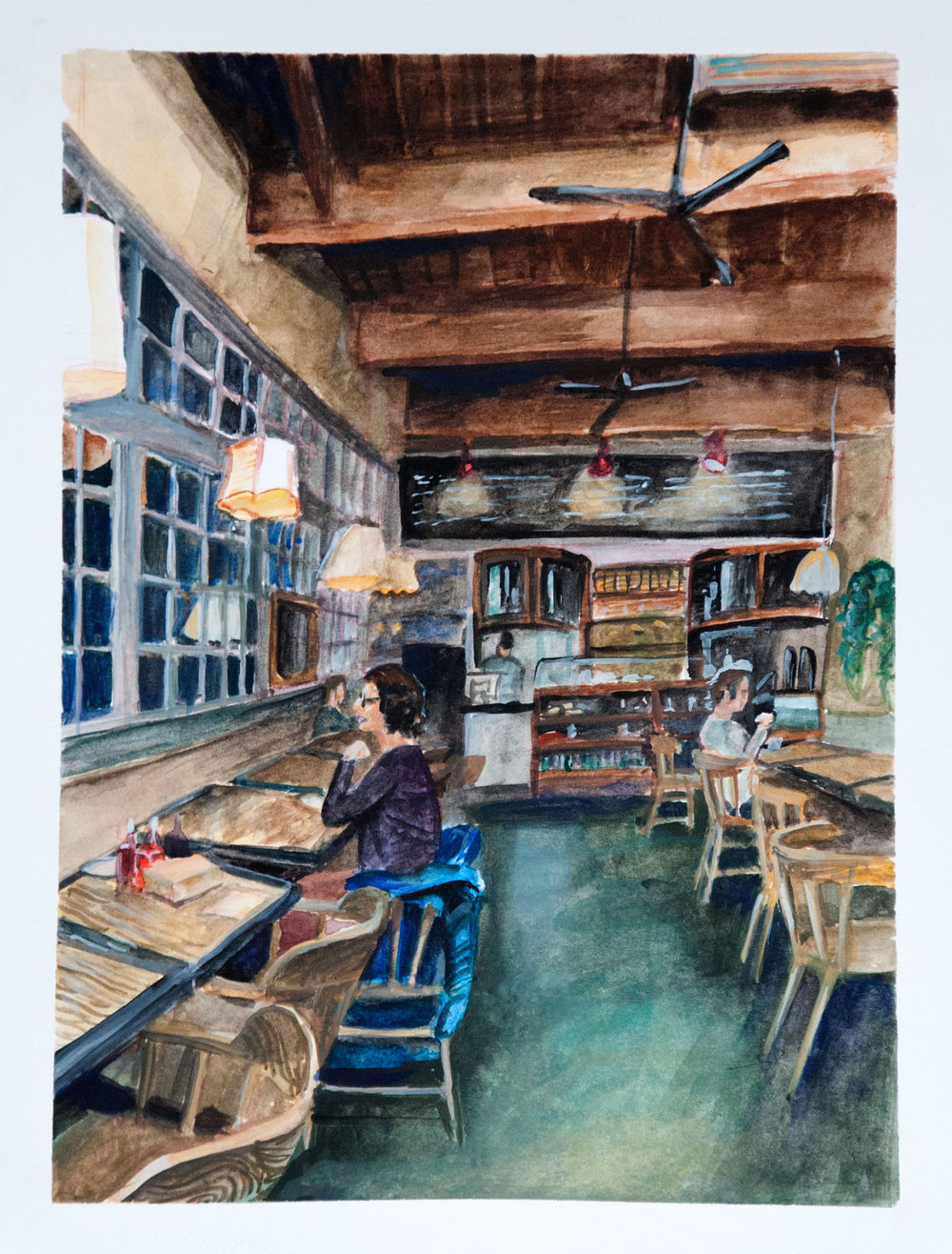 The Wandering Goose Cafe Watercolor on Arches Watercolor Block May 2016
