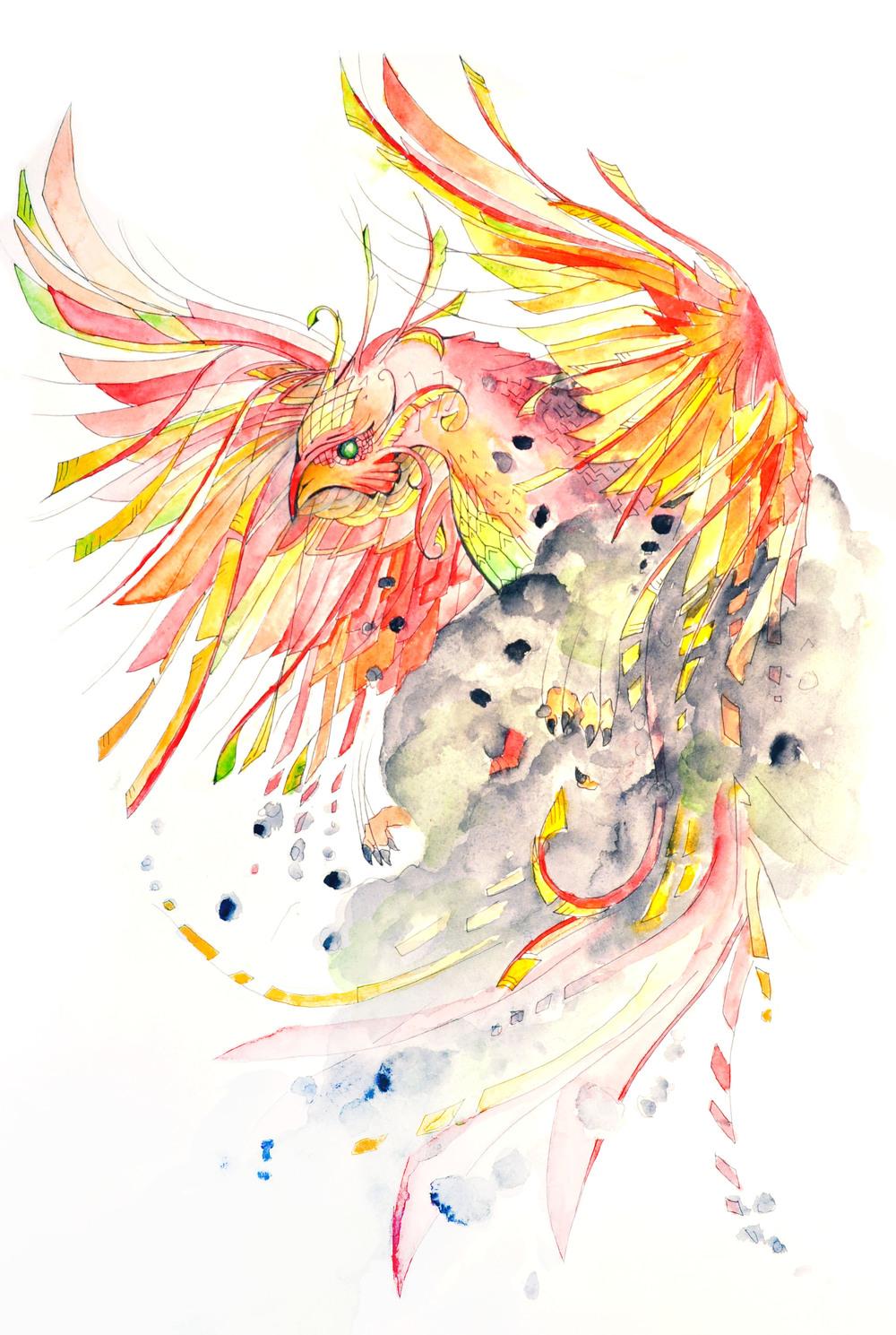 Phoenix Tattoo Design Watercolor on Paper January 2016