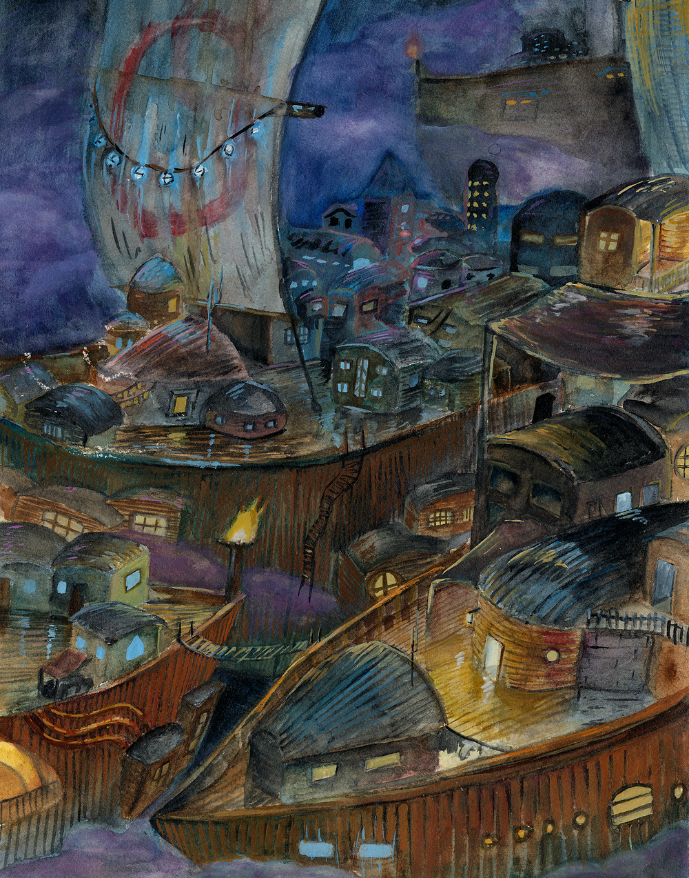 Floating Cities Watercolor on Arches Watercolor Block January 2015 Shop  Prints