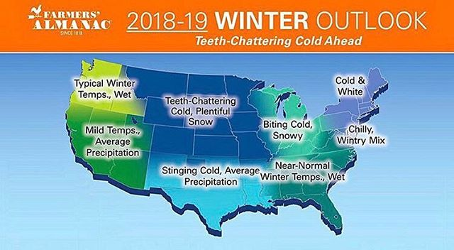 The Farmers Almanac has released their outlook for the 2018-19 season and things are looking good for us on the East Coast!