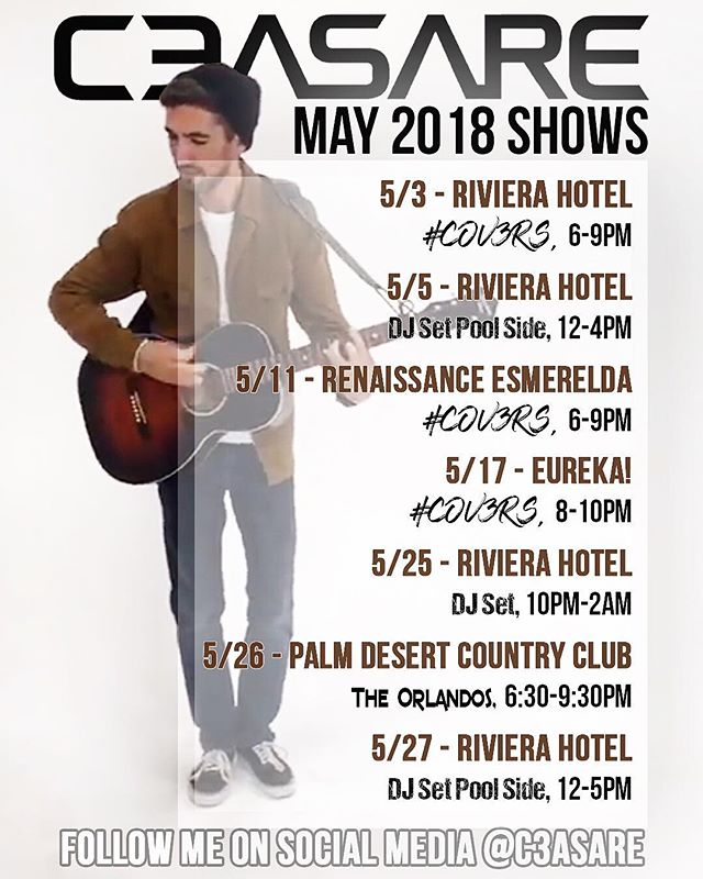 Some people have been asking me when and where they can see me play... so here are my public gigs for May 2018. #palmsprings #gigging #acousticmusic #cov3rs #emp