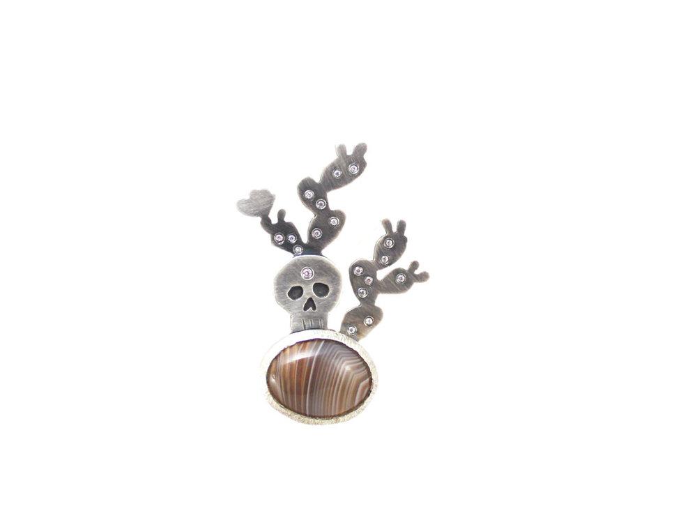 Prickly Pear Skull & Agate pendant