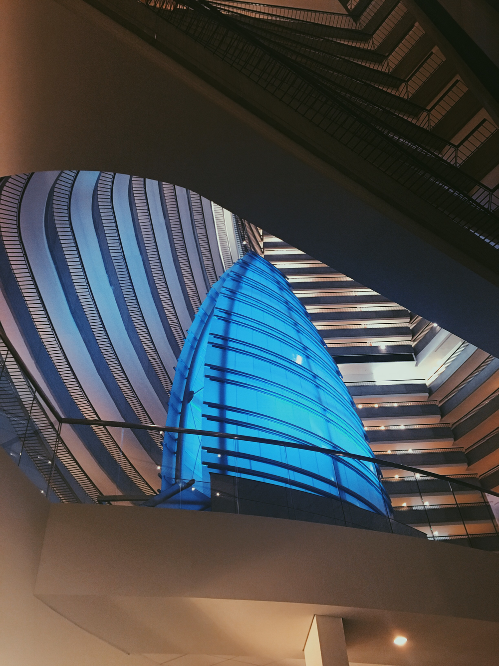 Lobby view looking up at Pulse Bar + Loft