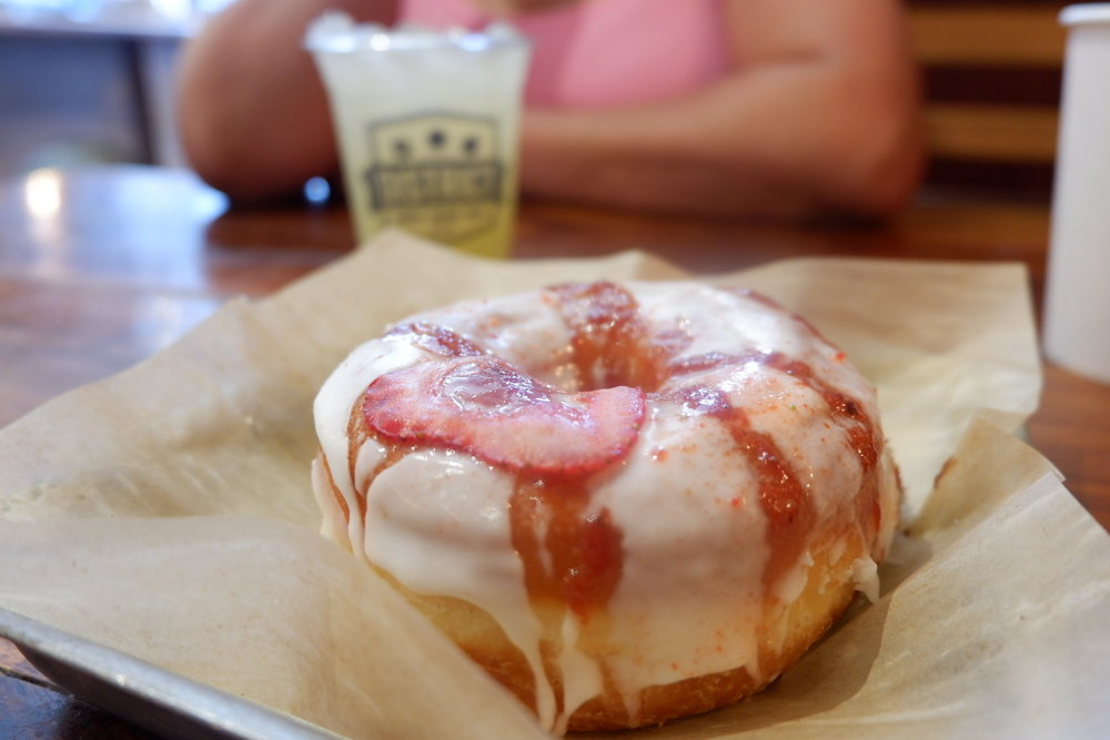 This isn't street food, but it was damn good. Strawberry Lemonade donut from District Donuts.