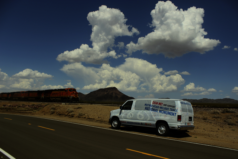 The Save Route 66 Traveling Petition Van in the Mojave Desert  |  July 6, 2015