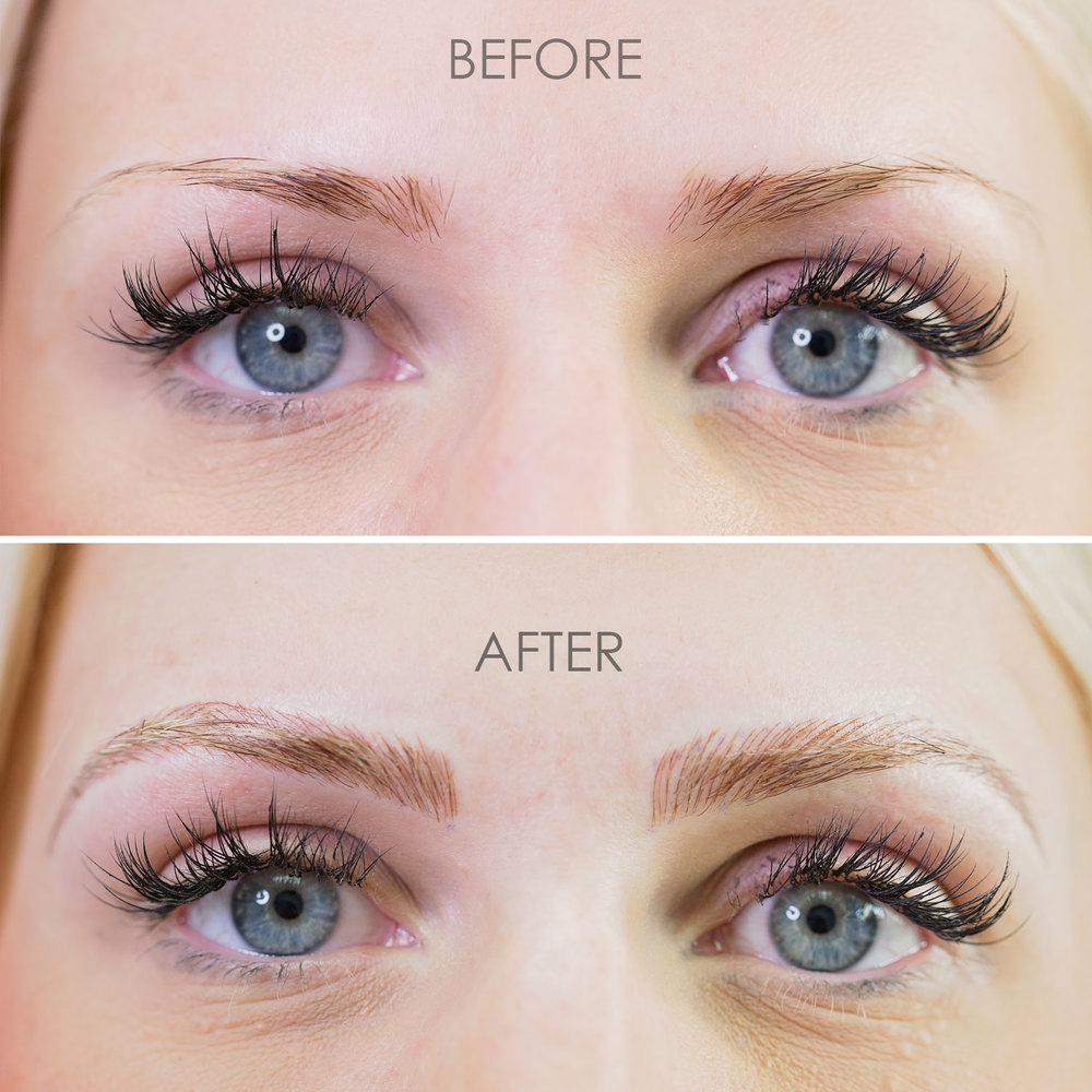 microblading blonde before and after by Kara Sanchez Austin, TX