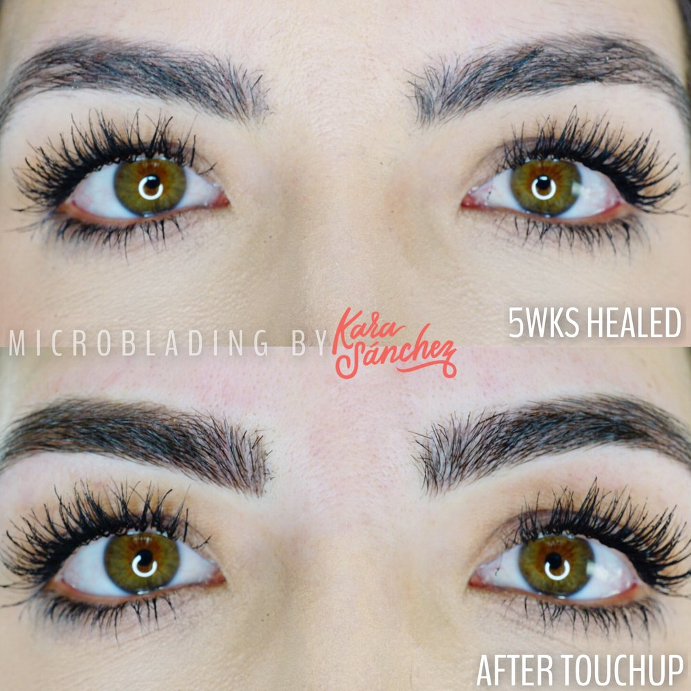 feather brow healed results microblading